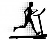 Healthy young woman running on a modern treadmill at great speed with halftone pattern motion trails