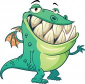 Funny cartoon green dragon.Vector illustration with simple gradients. All in a single layer.