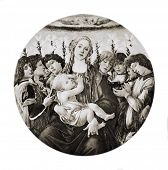 Постер, плакат: Сандро Боттичелли «Мадонна с младенцем и поющие ангелы» Воспроизведение из энциклопедии «сокровища