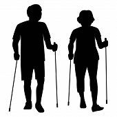 Senior Couple Do Nordic Walking In The Park. Retirees With Nordic Sticks Silhouette Isolated Vector  poster