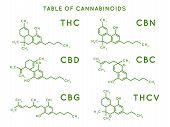 Cannabinoid Structure. Cannabidiol Molecular Structures, Thc And Cbd Formula. Marijuana Or Cannabis  poster