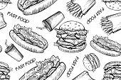 Burgers Seamless Pattern On White Background. Hand Drawn Hamburger And French Fries. Fast Food, Junk poster