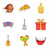 Italian Evening Icons Set. Cartoon Set Of 9 Italian Evening Icons For Web Isolated On White Backgrou poster