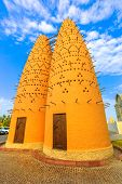 Famous Pigeon Towers In Front Of Mosque In Katara, A Cultural Village Also Named Valley Of Cultures, poster