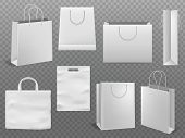 Shopping Bag Mockups. Empty Handbag White Paper Fashion Bag With Handle Vector 3d Realistic Isolated poster