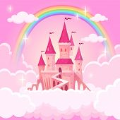 Castle Princess. Fantasy Flying Tale Palace Fairies Clouds Magic Fairytale Royal Palace Heaven Medie poster