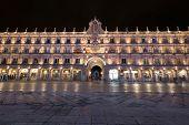 Salamanca Famous Landmark Plaza Mayor, Main Square At Night In Salamanca, Spain. poster