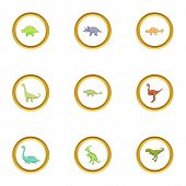 Different Dinosaurs Icons Set. Cartoon Style Set Of 9 Different Dinosaurs Icons For Web Design poster