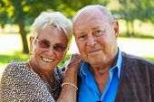 stock photo of senior-citizen  - Mature couple in love senior citizens - JPG