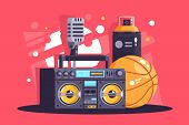 Flat Hip-hop Equipment With Spray, Microphone, Basketball, Boombox. Concept Street Culture, Rap Styl poster