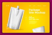 Vector Realistic 3d White Snack Sachet Isolated On Bright Modern Site Template With Typographic Back poster