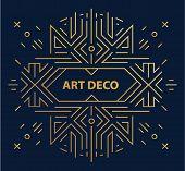 Vector Abstract Geometric Art Deco Frame, Border, Background. Linear Trendy Style. Monogram Art Deco poster