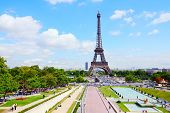 Eiffel Tower And Trocadero Gardens In Paris, France. poster