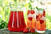 Fresh Strawberry Lemonade With Ice And Mint In Glasses And Jug On Wood Table With Green Background O poster