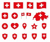 Switzerland Flag Icons Set, National Flag Of Switzerland Symbols poster