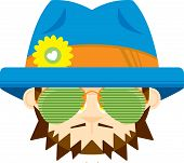 Cute Cartoon Hippie In Shades And Flower Hat poster