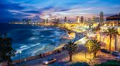 Panoramic View Of Tel Aviv At Blue Time, Israel poster