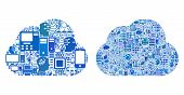 Cloud Computing Composition Icons Organized For Bigdata Purposes. Vector Cloud Computing Mosaics Are poster