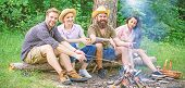 Best Friends Spend Leisure Weekend Hike Barbecue Forest Nature Background. Friends Enjoy Weekend Bar poster