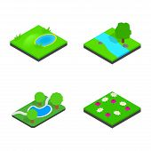 Green Land Icon Set. Isometric Set Of Green Land Icons For Web Isolated On White Background poster