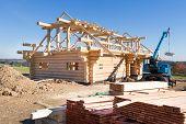 Building  Wooden House,  Building Building Symbol, Construction Of Wooden Timbers, Construction Of W poster