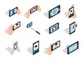 Selfie Icon Set. Isometric Set Of Selfie Icons For Web Isolated On White Background poster