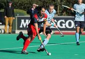 BARCELONA - JAN, 7: Alex Fabregas(L) of RC Polo during vies with David Cole(R) of Monkstown HC  a Ki