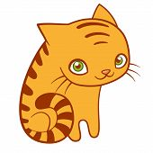 Cute Striped Cat, Cartoon Flat Vector Illustration. Sweet Nursery Poster, Yellow Kitty poster