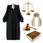 Judge Ceremonial Clothing, Wooden Gavel And Scales Of Justice Realistic Vector Isolated On White Bac poster