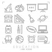 Outline Thin Black And White Icons Set. Education Collection. Mathematics,  Astronomy, Sport Games,  poster