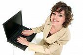 stock photo of rep  - customer service reps communicating with you over her laptop - JPG