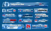 Sport News Tv Backdrops With Broadcast Header Title And Lower Bars. Vector Breaking News Television  poster