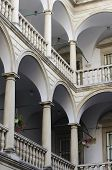 Columns With Arches And Balustrades In Italian Courtyard (palace Kornyakta)
