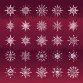 Set Of Snowflakes Vinous Background