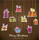 Paper hanging gift boxes. Vector Illustration.