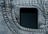 graded-screen smartphone in jeans