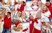 Collage of happy man and woman enjoying being together in winter