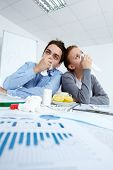 image of rhinitis  - Image of sick business partners with rhinitis sitting in office - JPG