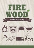 Fire and wood concept, retro-styled icons