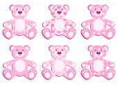 Set Of Pink Applique Bear.