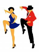 image of jive  - Abstract vector illustration of american latin dancers - JPG