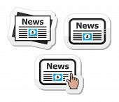 Newpaper, news on tablet icons set as labels