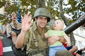 American Soldiers Holding Cute Baby Boy Tank