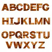 Alphabet - letters from rusty metal with rivets. Isolated over white