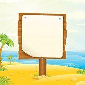 Sinal de madeira na praia tropical. Ilustração vetorial