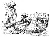 Vector illustration of a market scenery in Vietnam