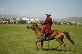 Mongolian Rider Finishes Horse Race
