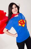 Proud Mom As Super Hero Mother With Red Cape