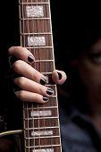 Rock Girl Holding Her Guitar