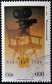 CHILE - CIRCA 1995: A stamp printed in Chile shows poster commemorating 100 years of cinema circa 19